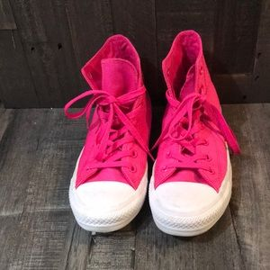 High Top Neon Pink CONVERSE ALL STAR Shoes Size:8
